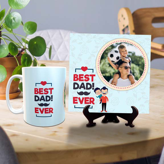 Best Dad Ever Personalized Tile Mug Combo