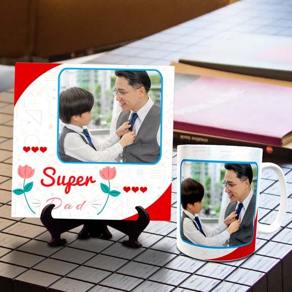 Super Dad Personalized Tile Mug Combo
