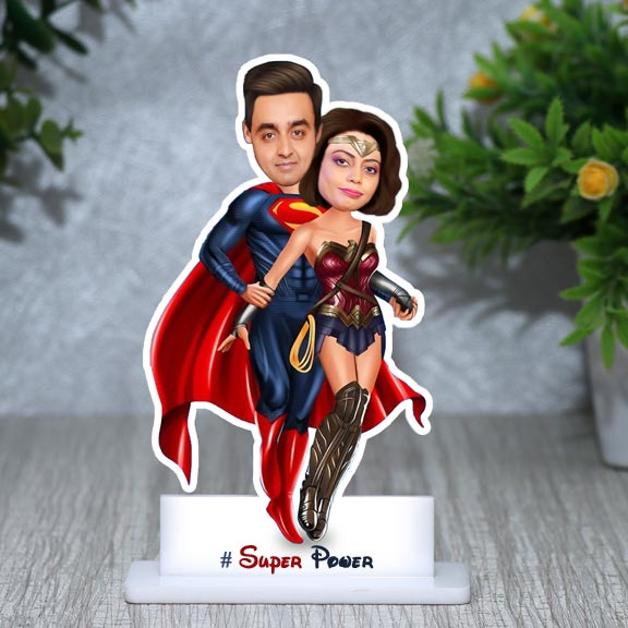 Super Power Personalized Couple Caricature