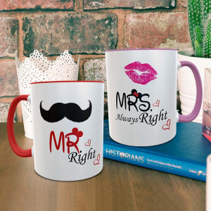 Mr and Mrs Right Personalized Mug Combo