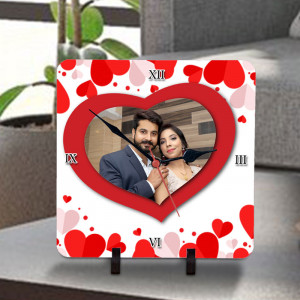 Red Heart Personalized Clock