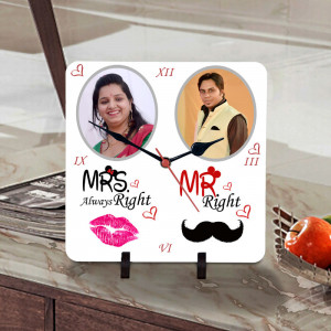 Mr and Mrs Right Personalized Clock