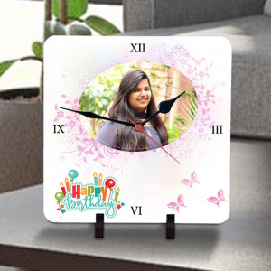 Personalized Butterfly Birthday Wishes Clock
