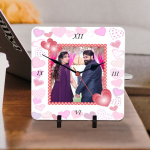 Personalized Pink Hearts Print Clock for Couple