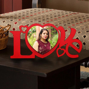 Personalized Love in Heart Wooden Photo Frame