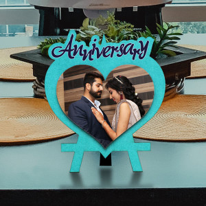 Heart Shape Anniversary Wishes Wooden Photo Frame
