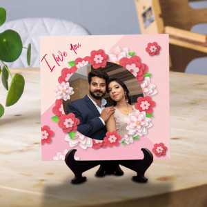 Flower Print Love You Personalized Tile