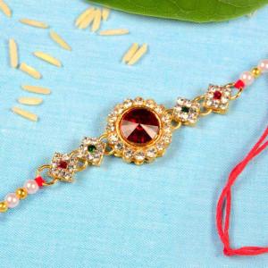 Red and White Stone Kundan Pearl Rakhi