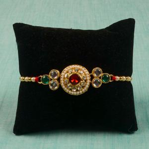 Golden Metallic Pearl Rakhi