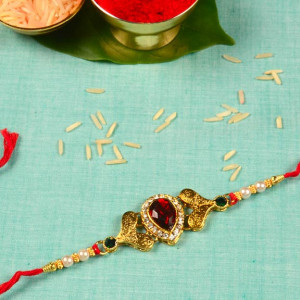 Designer Red Gemstone Rakhi