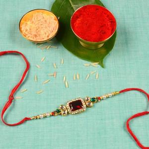 Designer Pearls Beads Rakhi