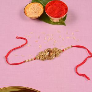 Royal Golden Precious Stone Rakhi