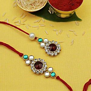 Bhaiya Bhabhi Stone work Premium Rakhi set