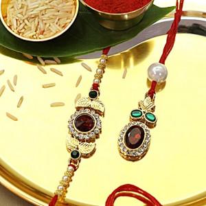 Red Gemstone Rakhi Set for Bhaiya Bhabhi