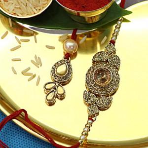 Royal Golden Precious Stone Bhaiya Bhabhi Rakhi