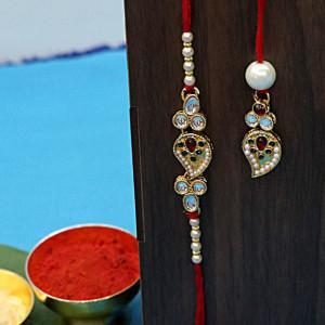 Designer Pearl Rakhi Set for Bhaiya Bhabhi