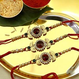Golden Leaf Red Gemstone Rakhi set of Three