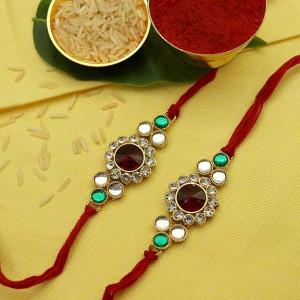 Designer Golden Stone Rakhi set of Two
