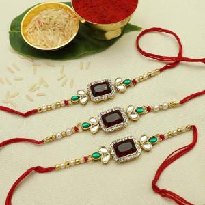 Precious Pearl Beads Rakhi set of three