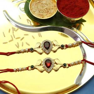 Red Gemstone Designer Rakhi set of two