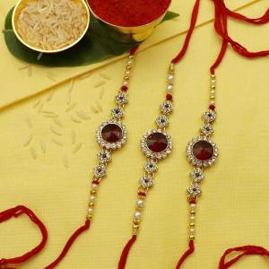 Kundan Pearl Red N White Stone Rakhi set