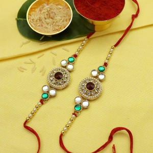 Metallic Golden Pearl Rakhi set