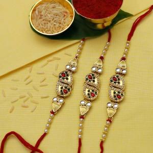Golden Pearl Rakhi set of three