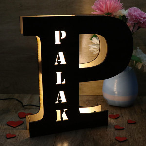 Personalized Wooden Name Letter Lamp