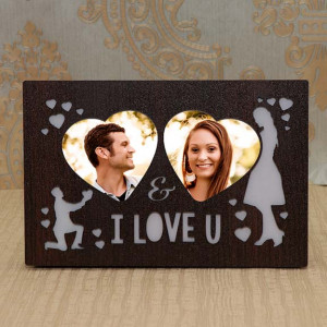 I Love You LED Wooden Personalized Frame