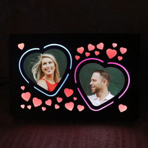 Personalized Heart LED Wooden Frame