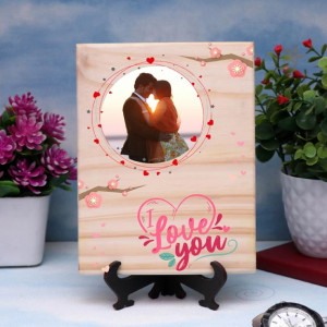 I Love You Floral Print Personalized Wooden Plaque